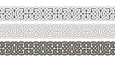 El nudo céltico trenzó el ornamento de la frontera del marco. Ilustración del vector.
