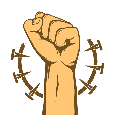 Rebel, protest revolution poster. Human clenched fist isolated over white. Vector illustration Illustration