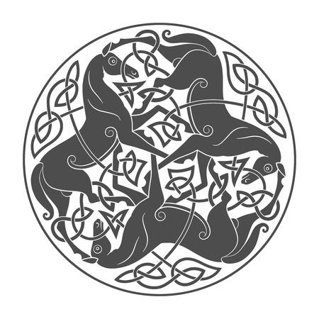 Antico simbolo mitologico celtico della trinità del cavallo. Ornamento nodo vettoriale. Archivio Fotografico - 85715752
