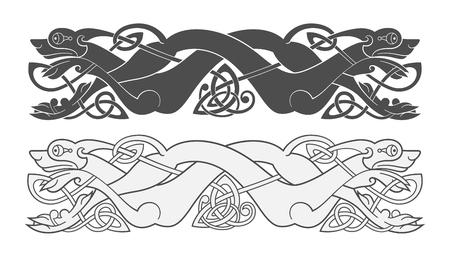 Antiguo símbolo mitológico celta de lobo, perro, bestia Ilustración de vector
