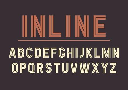 レトロなインライン太字フォント デザイン、アルファベット、書体、タイポグラフィーをベクトルします。ベクトル図