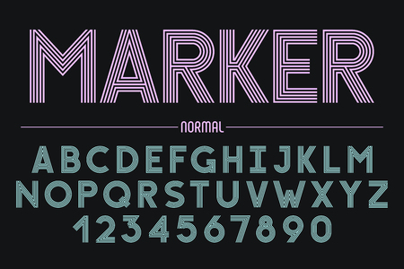 Retro futuristic bold decorative font design, alphabet, typeface, typography. 5 lines Vector illustration