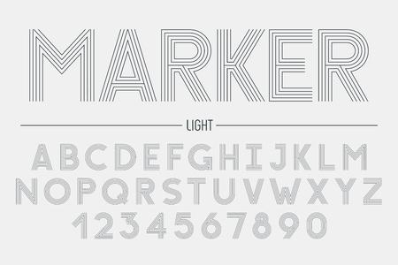 Retro futuristic bold decorative font design, alphabet, typeface Illustration