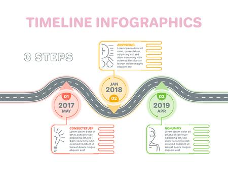 ナビゲーション地図インフォ グラフィック 3 手順タイムラインの概念。創造的なフラット スタイルの曲がりくねった道。ベクトルの図。  イラスト・ベクター素材