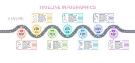 ナビゲーション地図インフォ グラフィック 7 手順タイムラインの概念。創造的なフラット スタイルの曲がりくねった道。ベクトルの図。
