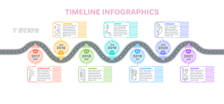 Navigation map infographics 7 steps timeline concept. Creative flat style winding road. Vector illustration. Stock Illustratie