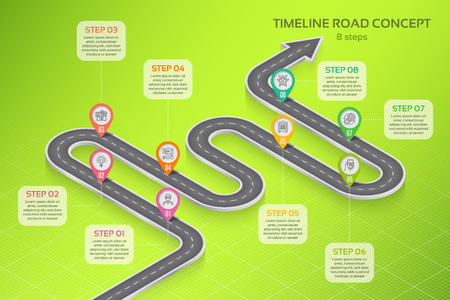 Isometric navigation map infographic 8 steps timeline concept