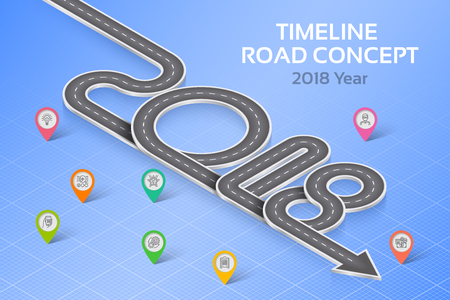 Isometric navigation map infographic 8 steps timeline concept