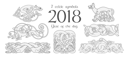 Set of celtic symbols of dogs. Design elements in tribal style. Vector illustration Vettoriali