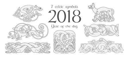 Set van keltische symbolen van honden. Ontwerpelementen in tribale stijl. Vector illustratie