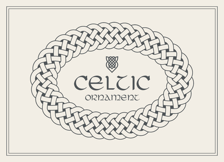 Celtic knot braided frame border ornament. A4 size. Vector illustration.