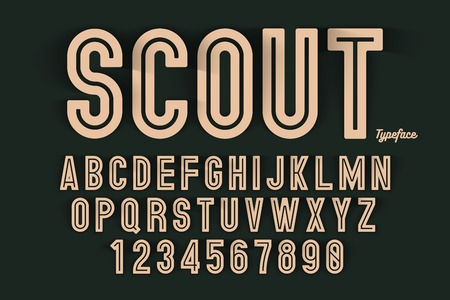 A Vector decorative bold font design, alphabet, typeface, typography Color swatches with spelled SCOUT on black