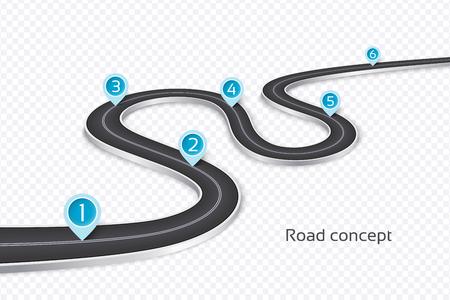 Concepto de infografía del camino 3d de enrrollamiento en un fondo blanco. Plantilla de línea de tiempo Ilustración vectorial