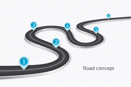 Winding 3d road infographic concept on a white background. Timeline template. Vector illustration Imagens - 90962000