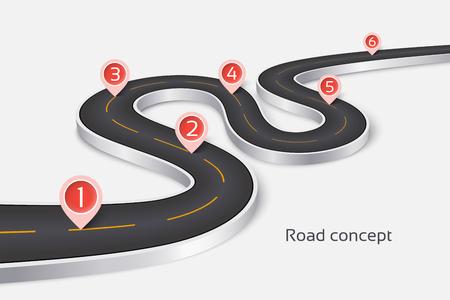 Concept infographique de route 3d sinueuse sur fond blanc. Modèle de chronologie. Illustration vectorielle