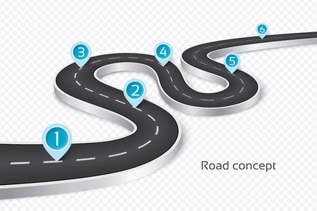 Kręta koncepcja infografikę drogi 3d na białej ilustracji.