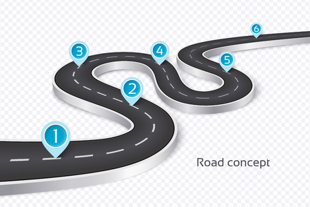 Winding 3d road infographic concept on a white illustration. Stock Vector - 90950272
