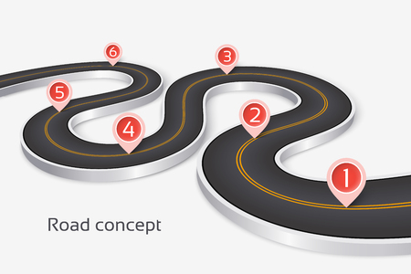 Winding 3d road infographic concept on a white background. Timeline template. Vector illustration