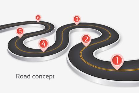 Windend 3d weg infographic concept op een witte achtergrond. Tijdlijn sjabloon. Vector illustratie