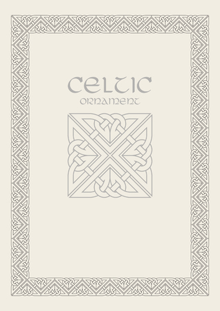 Celtic knot braided frame border ornament. Vectores