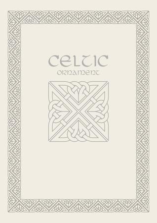 Celtic knot braided frame border ornament. Vettoriali