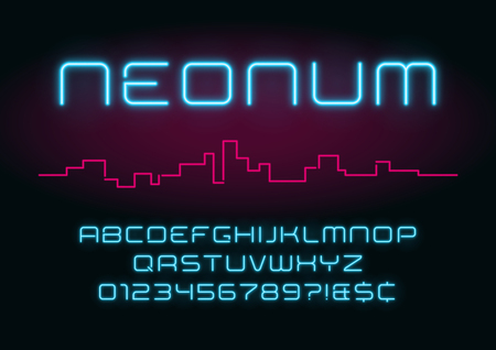 Neon light alphabet, realistic extra glowing futuristic font.