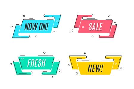 Bandera de cinta de promoción lineal plana, desplazamiento, etiqueta de precio, etiqueta, Foto de archivo - 93892216