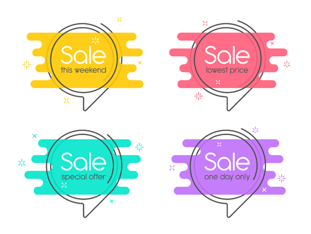 Flat linear promotion banner, speech bubble, price tag, sticker, Vectores