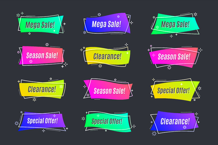 Flat linear promotion vivid banner, scroll, price tag, sticker,
