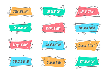 Flat linear promotion banner, scroll, price tag, sticker, badge,