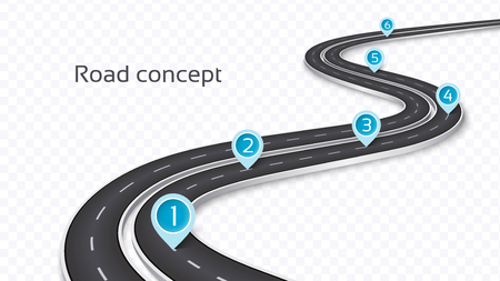 Winding 3D road concept on a transparent background. Timeline template. Vector illustration Ilustração