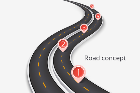 Winding 3D road concept on a white background. Timeline template. Vector illustration Ilustração