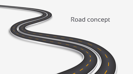 Winding 3D road concept on a white background. Timeline template Illustration