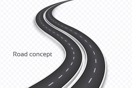 Winding 3D road concept on a transparent background. Timeline template. Vector illustration Çizim