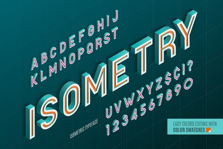 Isometric alphabet. 3d letters and numbers. Color swatches control.