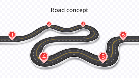 Winding 3D road concept on a transparent background. Timeline template. Vector illustration Stock Illustratie