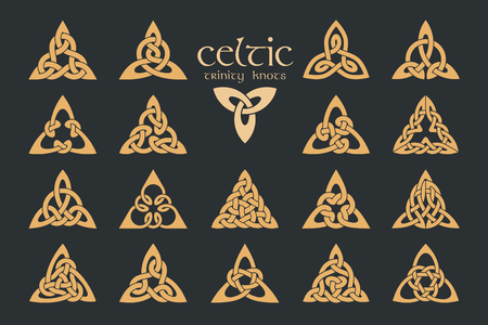 A Vector Celtic trinity knot 18 items. Ethnic ornament ON Geometric Иллюстрация