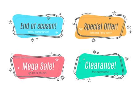 Flat linear promotion ribbon banner, scroll, price tag, sticker, badge, poster Vector illustration Illustration