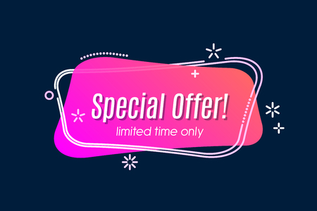 Flat linear promotion vivid banner, scroll, price tag, sticker, badge, poster Vector illustration