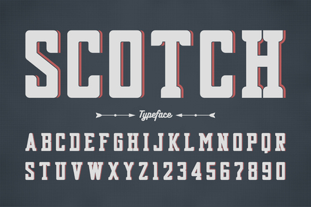 Vector condensed retro display font design, alphabet, character set. Typeface, typography, letters and numbers.