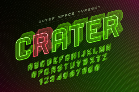 Crater futuristic vector decorative font design, alphabet. Easy Swatch Color control Illustration