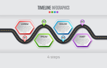 Navigation map info graphic 4 steps timeline concept Vector illustration winding road. Color swatches control