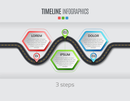 Navigation map info graphic 3 steps timeline concept Vector illustration winding road. Color swatches control