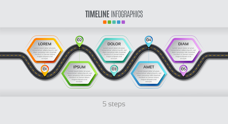 Navigation map info-graphic 5 steps timeline concept. Vector illustration winding road. Color swatches control.