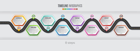 Navigation map info graphic 8 steps timeline concept Vector illustration winding road. Color swatches control