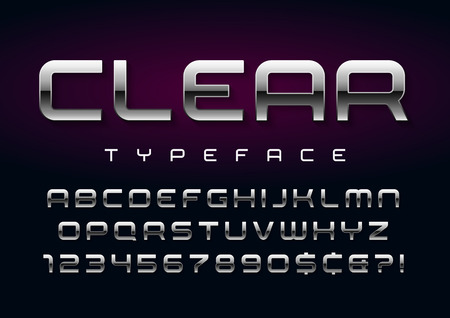 Vector shiny silver display font design, alphabet, character set Ilustracja