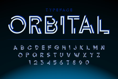Futuristic display font design, alphabet, character set Illustration