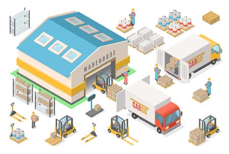Insieme isometrico dell'icona del magazzino, schema, concetto logistico