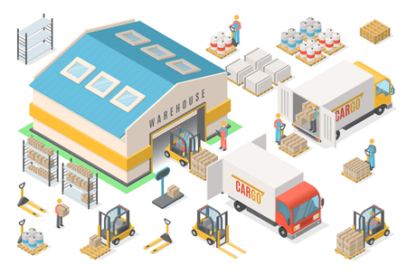 Isometric warehouse icon set, scheme, logistic concept