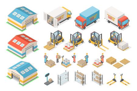 Isometric warehouse icon set, scheme, logistic concept Vettoriali